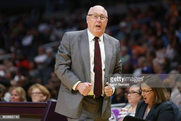 Head coach Mike Thibault of the Washington Mystics looks on against the Los Angeles Sparks during a WNBA basketball game at Staples Center on July 2...
