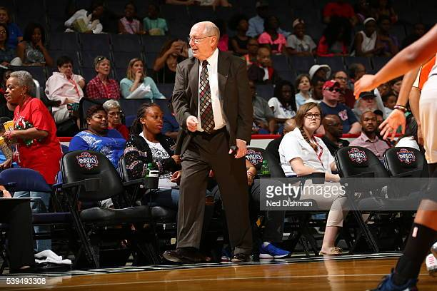 Head Coach Mike Thibault of the Washington Mystics looks on during the game against the Minnesota Lynx on June 11 2016 at Verizon Center in...
