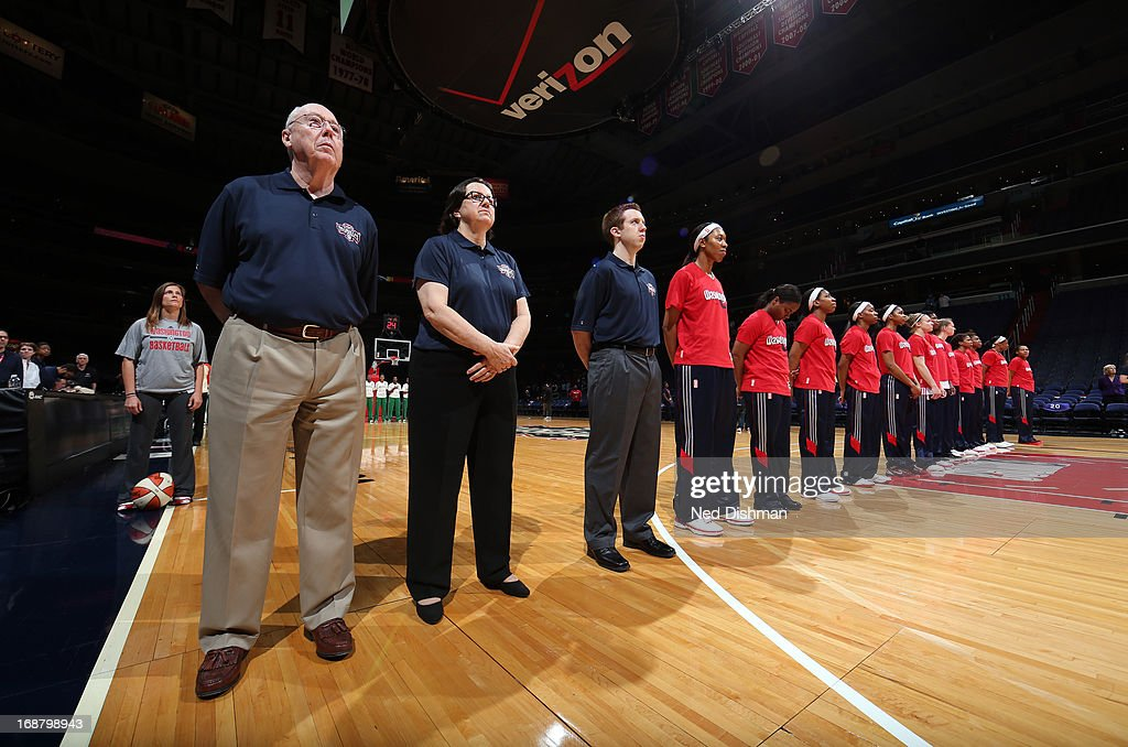 Head coach Mike Thibault of the Washington Mystics stands during the anthem against the Brazil National Team at the Verizon Center on May 15, 2013 in Washington, DC.
