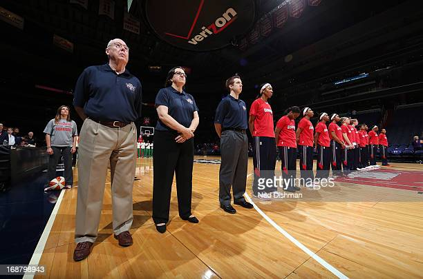 Head coach Mike Thibault of the Washington Mystics stands during the anthem against the Brazil National Team at the Verizon Center on May 15 2013 in...