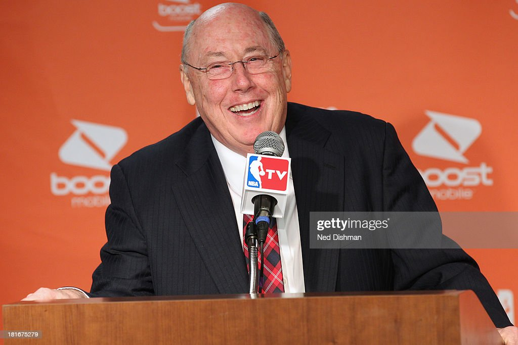 Head coach <a gi-track='captionPersonalityLinkClicked' href=/galleries/search?phrase=Mike+Thibault&family=editorial&specificpeople=544624 ng-click='$event.stopPropagation()'>Mike Thibault</a> of the Washington Mystics talks to the press after he is awarded Coach of the Year at the Verizon Center on September 21, 2013 in Washington, DC.