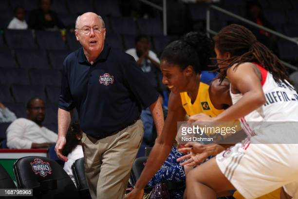 Head coach Mike Thibault of the Washington Mystics watches play against the Brazil National Team at the Verizon Center on May 15 2013 in Washington...