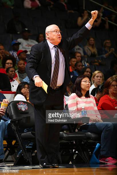 Head coach Mike Thibault of Washington Mystics calls out a play during the game against the New York Liberty on May 14 2016 at Verizon Center in...