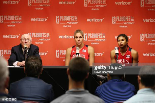 Head coach Mike Thibault with Elena Delle Donne and Tierra RuffinPratt of the Washington Mystics speaks at a post game press conference after the...