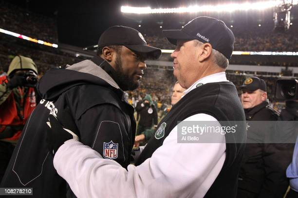 Head coach Mike Tomlin of the Pittsburgh Steelers and head coach Rex Ryan of the New York Jets shake hands after the Steelers defeated the Jets 24 to...