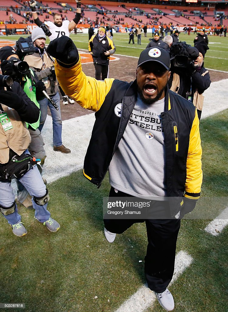 Head coach Mike Tomlin of the Pittsburgh Steelers celebrates after a 2812 win over the Cleveland Browns at FirstEnergy Stadium on January 3 2016 in...