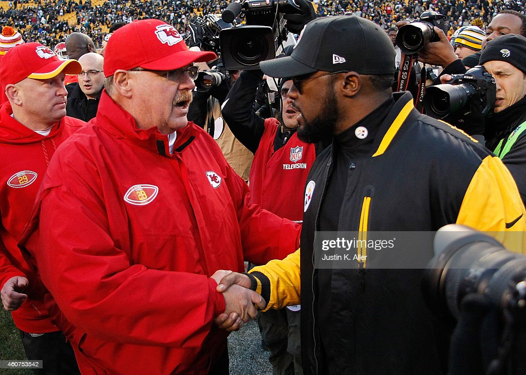 Head coach <a gi-track='captionPersonalityLinkClicked' href=/galleries/search?phrase=Mike+Tomlin&family=editorial&specificpeople=749087 ng-click='$event.stopPropagation()'>Mike Tomlin</a> of the Pittsburgh Steelers is congratulated by head coach <a gi-track='captionPersonalityLinkClicked' href=/galleries/search?phrase=Andy+Reid+-+Coach&family=editorial&specificpeople=204475 ng-click='$event.stopPropagation()'>Andy Reid</a> of the Kansas City Chiefs after Pittsburgh's 20-12 win at Heinz Field on December 21, 2014 in Pittsburgh, Pennsylvania.