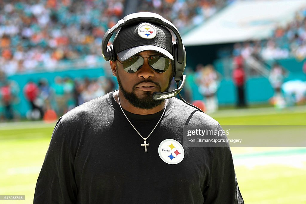 Head coach Mike Tomlin of the Pittsburgh Steelers looks on during a NFL game against the Miami Dolphins on October 16, 2016 at Hard Rock Stadium in Miami Gardens, Florida.