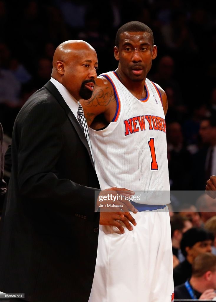 Head coach Mike Woodson and Amar'e Stoudemire #1 of the New York Knicks in action against the Detroit Pistons at Madison Square Garden on February 4, 2013 in New York City. The Knicks defeated the Pistons 99-85.