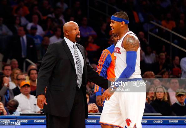 Head coach Mike Woodson and Carmelo Anthony of the New York Knicks in action against the Milwaukee Bucks at Madison Square Garden on October 30 2013...