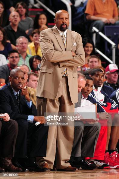 Head coach Mike Woodson of the Atlanta Hawks looks on from the sideline during the game against the Phoenix Suns on February 19 2010 at US Airways...