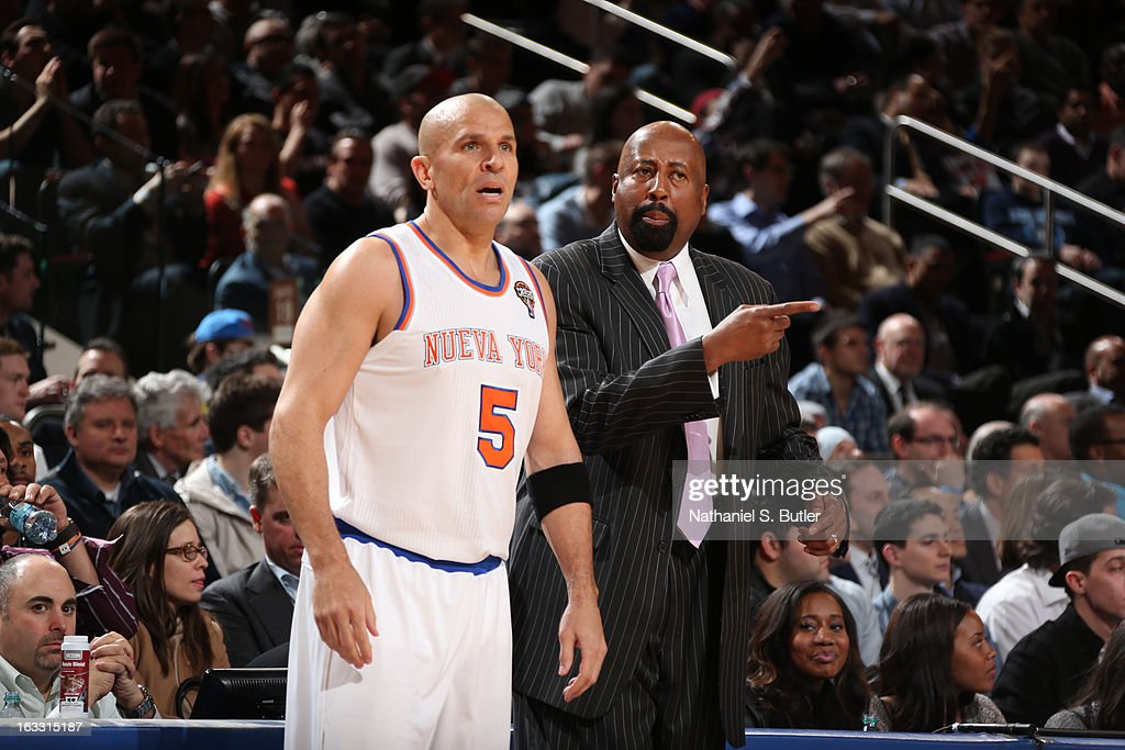 Head Coach Mike Woodson of the New York Knicks and Jason Kidd #5 of the New York Knicks react to a call in a game against the Oklahoma City Thunder on March 7, 2013 at Madison Square Garden in New York City.