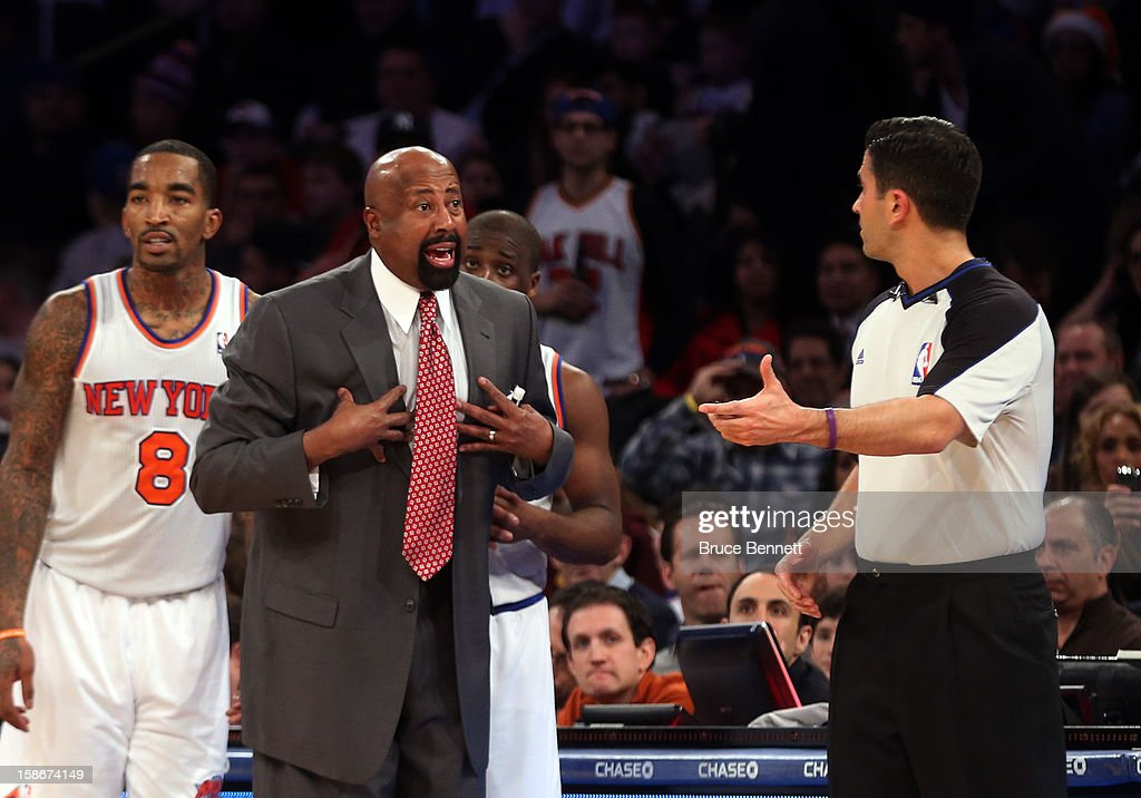 Head coach <a gi-track='captionPersonalityLinkClicked' href=/galleries/search?phrase=Mike+Woodson&family=editorial&specificpeople=213194 ng-click='$event.stopPropagation()'>Mike Woodson</a> of the New York Knicks argues a call in the game against the Chicago Bulls at Madison Square Garden on December 21, 2012 in New York City.