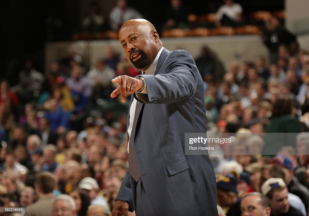 Head Coach Mike Woodson of the New York Knicks directs during the game between the Indiana Pacers and the New York Knicks on February 20, 2013 at Bankers Life Fieldhouse in Indianapolis, Indiana.