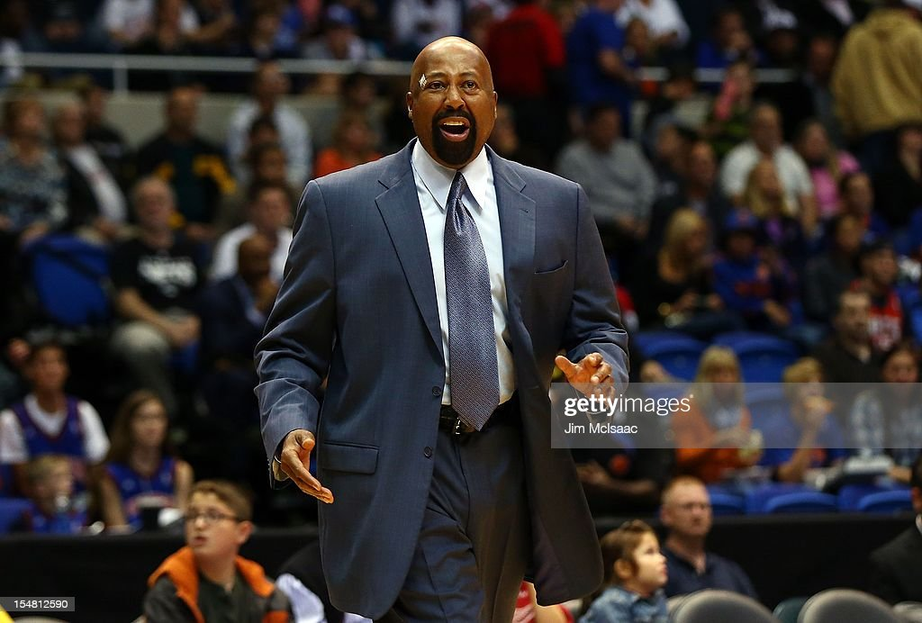 Head coach Mike Woodson of the New York Knicks in action against the Brooklyn Nets during a preseason game at Nassau Coliseum on October 24 2012 in Uniondale, New York The Knicks defeated the Nets 97-95.