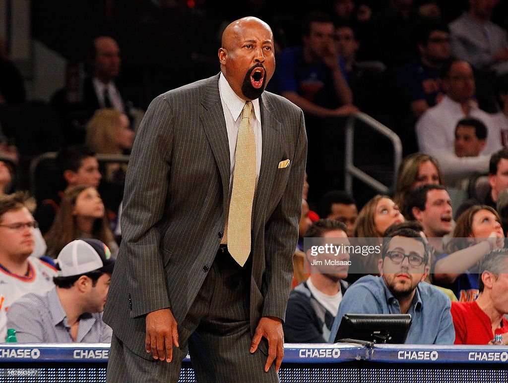 Head coach Mike Woodson of the New York Knicks in action against the Philadelphia 76ers at Madison Square Garden on February 24, 2013 in New York City. The Knicks defeated the 76ers 99-93.
