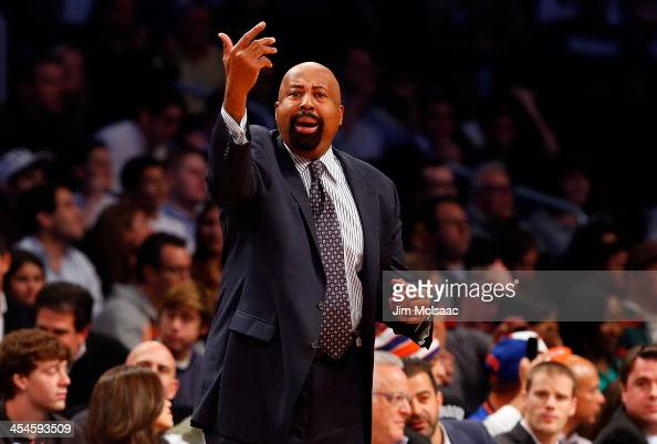 Head coach Mike Woodson of the New York Knicks in action against the Brooklyn Nets at Barclays Center on December 5 2013 in the Brooklyn borough of...