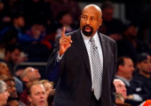 Head coach Mike Woodson of the New York Knicks in action against the Los Angeles Clippers at Madison Square Garden on January 17 2014 in New York...