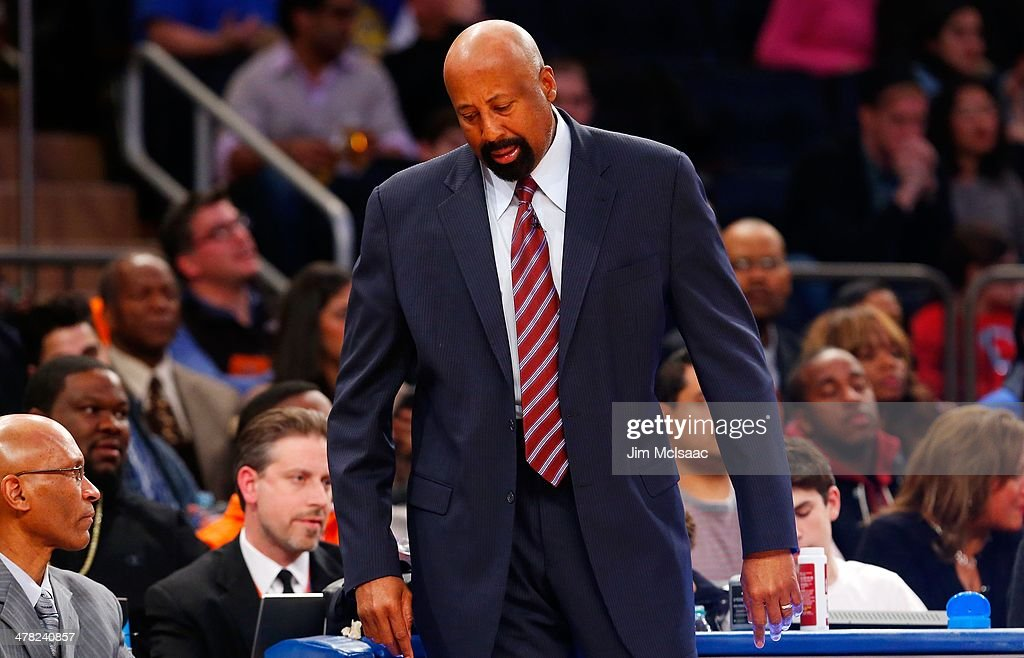 Head coach Mike Woodson of the New York Knicks in action against the Golden State Warriors at Madison Square Garden on February 28 2014 in New York...