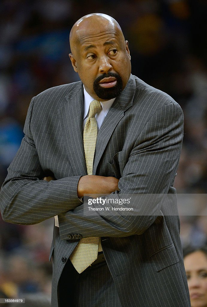 Head Coach Mike Woodson of the New York Knicks looks on against the Golden State Warriors at Oracle Arena on March 11, 2013 in Oakland, California.