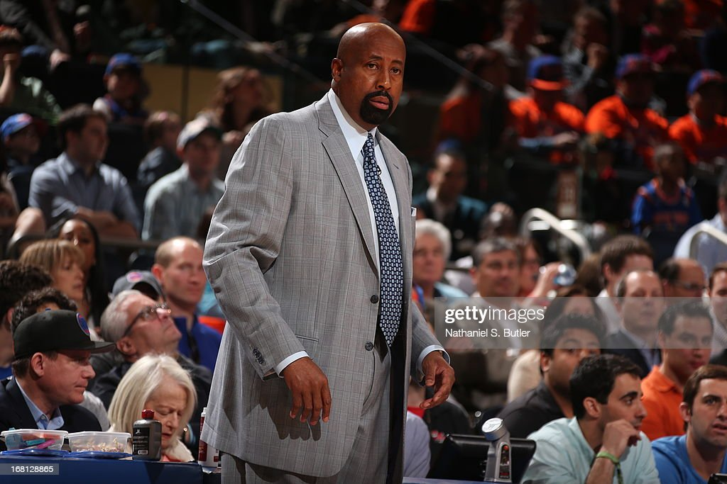 Head Coach <a gi-track='captionPersonalityLinkClicked' href=/galleries/search?phrase=Mike+Woodson&family=editorial&specificpeople=213194 ng-click='$event.stopPropagation()'>Mike Woodson</a> of the New York Knicks looks on against the Indiana Pacers in Game One of the Eastern Conference Semifinals during the 2013 NBA Playoffs on May 5, 2013 at Madison Square Garden in New York City.