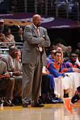 Head coach Mike Woodson of the New York Knicks looks on during a game against the Los Angeles Lakers at Staples Center on March 25 2014 in Los...