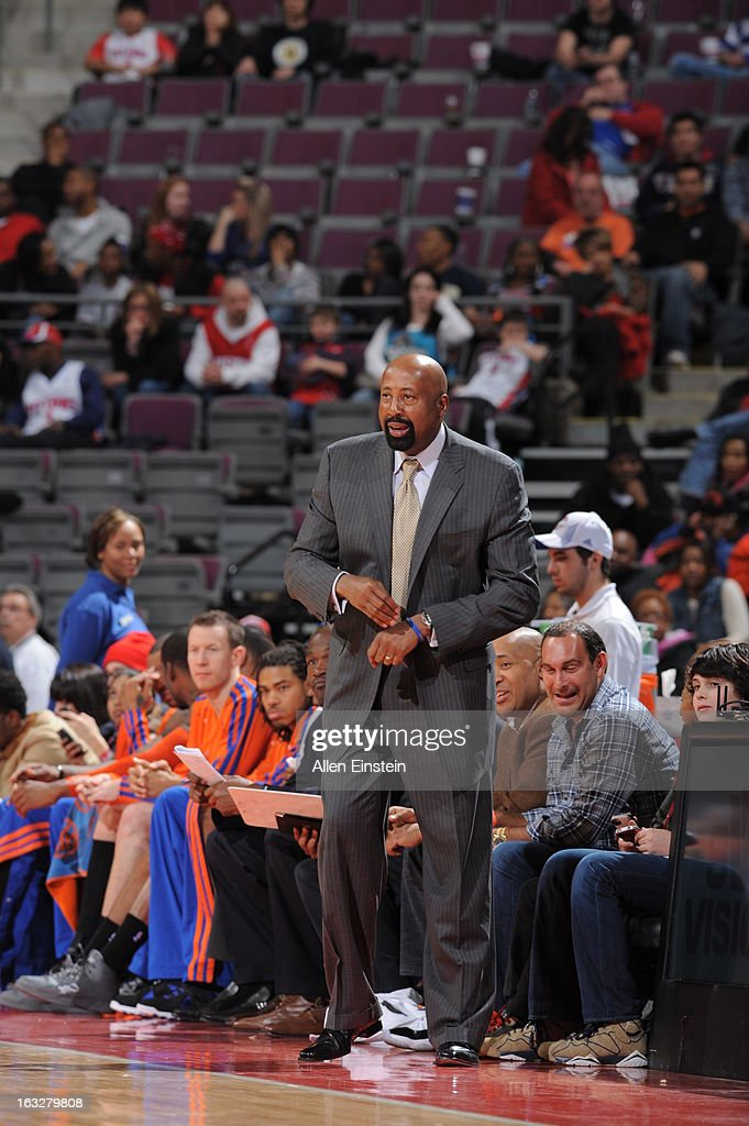 Head Coach Mike Woodson of the New York Knicks looks on during the game between the Detroit Pistons and the Atlanta Hawks on March 6, 2013 at The Palace of Auburn Hills in Auburn Hills, Michigan.