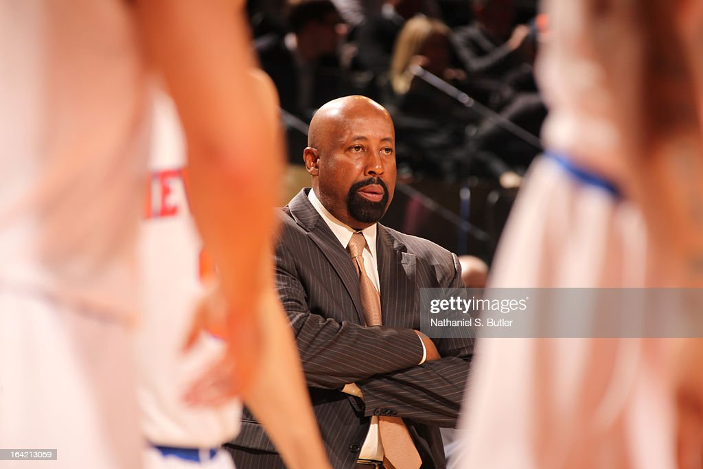 Head Coach, Mike Woodson, of the New York Knicks looks on during the game against the Orlando Magic on March 20, 2013 at Madison Square Garden in New York City.