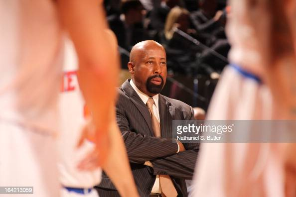 Head Coach Mike Woodson of the New York Knicks looks on during the game against the Orlando Magic on March 20 2013 at Madison Square Garden in New...
