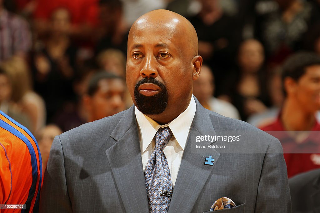 Head Coach Mike Woodson of the New York Knicks looks on while wearing his autism awareness pin against the Miami Heat during a game on April 2 2013...