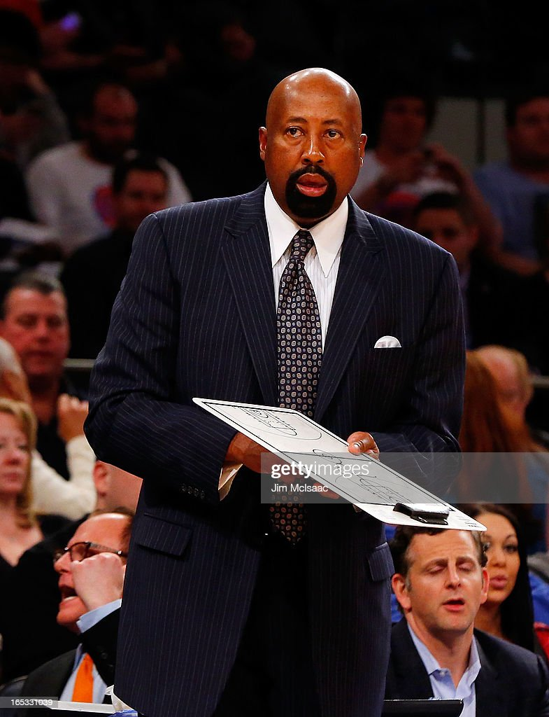 Head coach Mike Woodson of the New York Knicks of the New York Knicks in action against the Memphis Grizzlies at Madison Square Garden on March 27, 2013 in New York City. The Knicks defeated the Grizzlies 108-101.