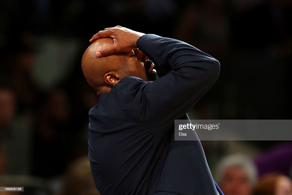 Head Coach <a gi-track='captionPersonalityLinkClicked' href=/galleries/search?phrase=Mike+Woodson&family=editorial&specificpeople=213194 ng-click='$event.stopPropagation()'>Mike Woodson</a> of the New York Knicks reacts after a bad play against the Indiana Pacers during Game Five of the Eastern Conference Semifinals of the 2013 NBA Playoffs at Madison Square Garden on May 16, 2013 in New York City.