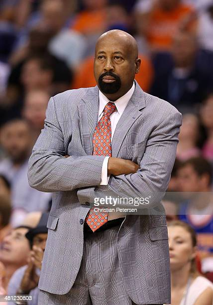 Head coach Mike Woodson of the New York Knicks reacts on the sidelines during the NBA game against the Phoenix Suns at US Airways Center on March 28...