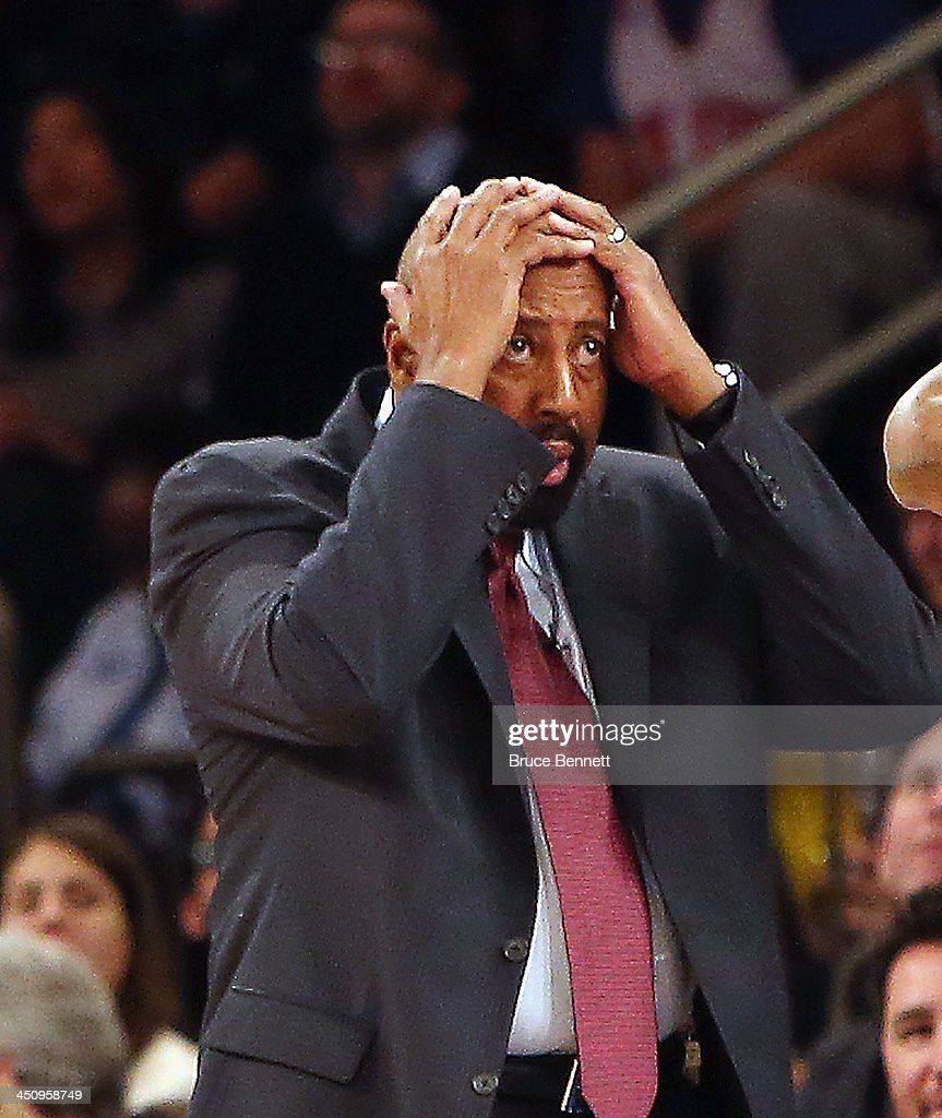 Head coach Mike Woodson of the New York Knicks reacts to a foul call during the game against the Indiana Pacers at Madison Square Garden on November 20, 2013 in New York City.