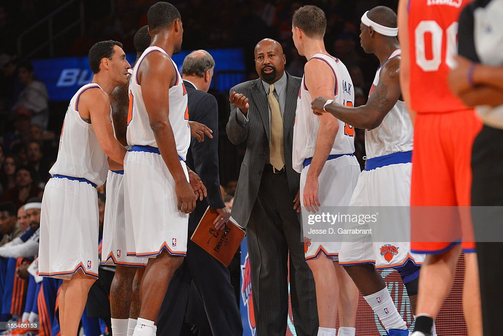 Head Coach Mike Woodson of the New York Knicks speaks with his team vs the Philadelphia 76ers on November 4, 2012 at Madison Square Garden in New York City.