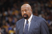 Head coach Mike Woodson of the New York Knicks watches the game against the Golden State Warriors on March 30 2014 at Oracle Arena in Oakland...
