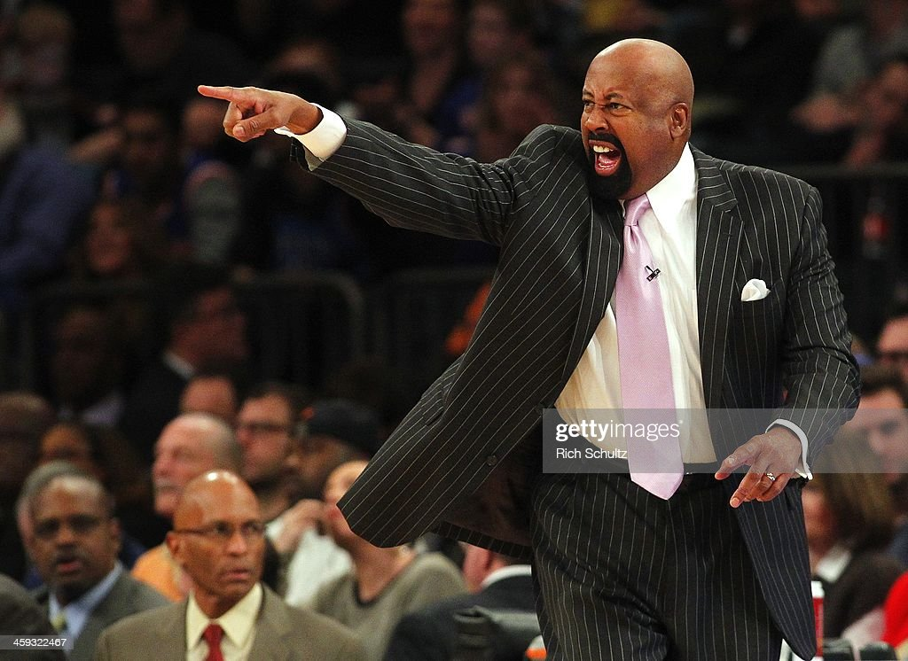 Head coach Mike Woodson of the New York Knicks yells at his players during the first half against the Oklahoma City Thunder in an NBA basketball game...
