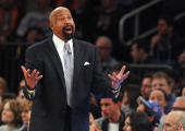 Head coach Mike Woodson of the New York Knicks yells to a ref during the second half of a game against the Miami Heat at Madison Square Garden on...