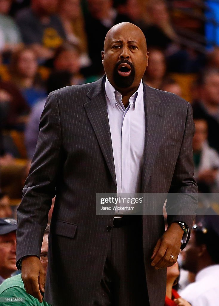 Head coach Mike Woodson of the New York Knicks yells to his team in the first quarter against the Boston Celtics during the game at TD Garden on...