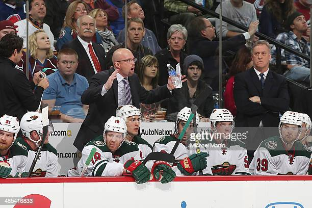 Head coach Mike Yeo of the Minnesota Wild shouts during Game One of the First Round of the 2014 Stanley Cup Playoffs against the Colorado Avalanche...