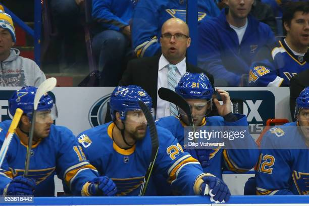 Head coach Mike Yeo of the St Louis Blues looks on during a game against the Toronto Maple Leafs at the Scottrade Center on February 2 2017 in St...