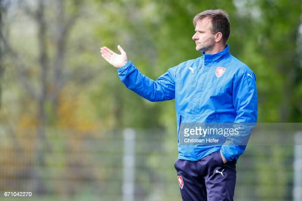 Head coach Milan Matejka of Czech Republic reacts on the touchline during the Under 15 girls international friendly match between Czech Republic and...