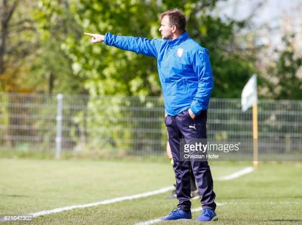 Head coach Milan Matejka of Czech Republic reacts on the touchline during the Under 15 girls international friendly match between Czech Republic and...