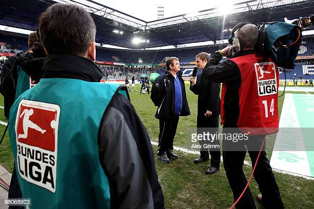 Head coach Milan Sasic of Duisburg gives an interview before the Second Bundesliga match between MSV Duisburg and TuS Koblenz at the MSV Arena on...