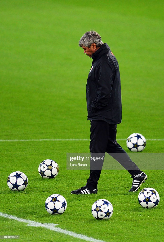 Head coach Mircea Lucescu looks on during a FC Shakhtar Donetsk training session ahead of their UEFA Champions League round of 16 match against Borussia Dortmund on March 4, 2013 in Dortmund, Germany.