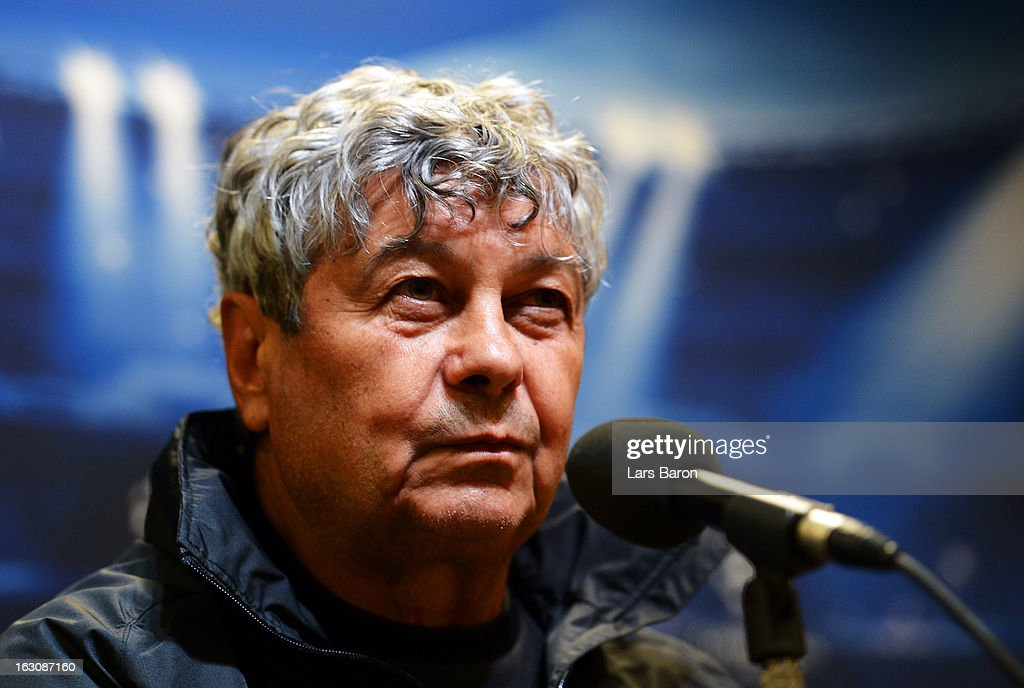 Head coach <a gi-track='captionPersonalityLinkClicked' href=/galleries/search?phrase=Mircea+Lucescu&family=editorial&specificpeople=5511022 ng-click='$event.stopPropagation()'>Mircea Lucescu</a> looks on during a FC Shakhtar Donetsk press conference ahead of their UEFA Champions League round of 16 match against Borussia Dortmund on March 4, 2013 in Dortmund, Germany.