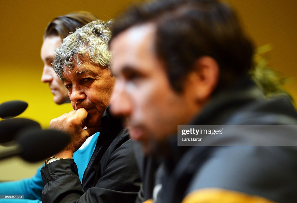Head coach Mircea Lucescu looks on during a FC Shakhtar Donetsk press conference ahead of their UEFA Champions League round of 16 match against Borussia Dortmund on March 4, 2013 in Dortmund, Germany.