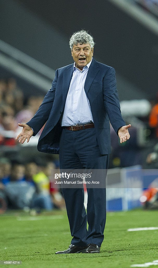 Head coach <a gi-track='captionPersonalityLinkClicked' href=/galleries/search?phrase=Mircea+Lucescu&family=editorial&specificpeople=5511022 ng-click='$event.stopPropagation()'>Mircea Lucescu</a> of Shakhtar Donetsk reacts during the UEFA Champions League Group H match between Athletic Club and Shakhtar Donetsk at San Mames Stadium on September 17, 2014 in Bilbao, Spain.