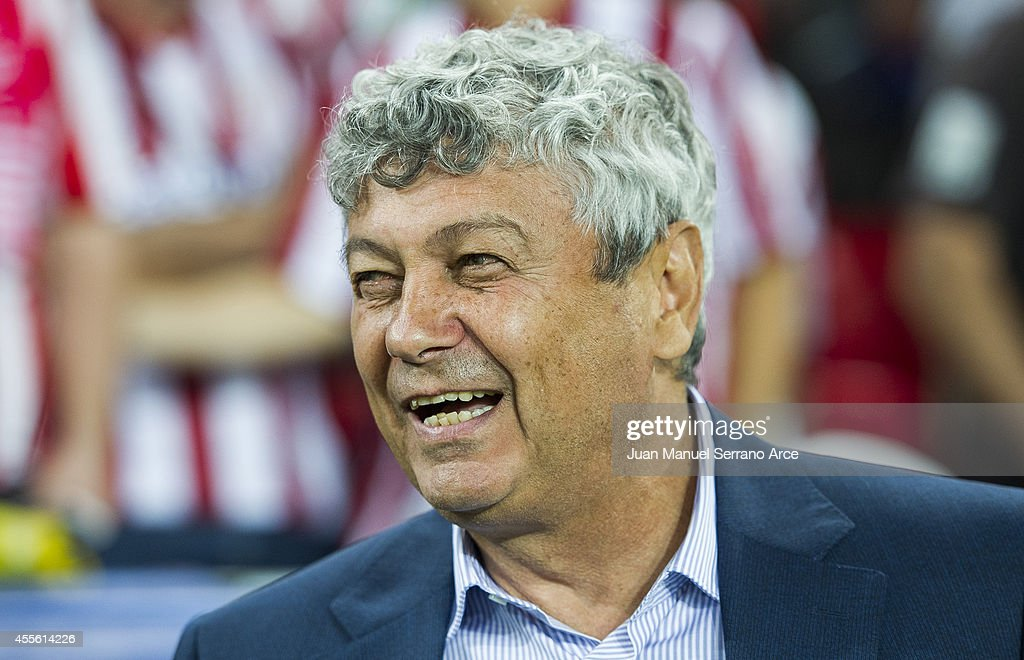 Head coach <a gi-track='captionPersonalityLinkClicked' href=/galleries/search?phrase=Mircea+Lucescu&family=editorial&specificpeople=5511022 ng-click='$event.stopPropagation()'>Mircea Lucescu</a> of Shakhtar Donetsk reacts on prior to the start the UEFA Champions League Group H match between Athletic Club and Shakhtar Donetsk at San Mames Stadium on September 17, 2014 in Bilbao, Spain.
