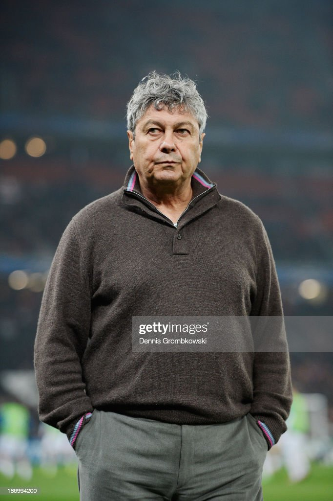 Head coach <a gi-track='captionPersonalityLinkClicked' href=/galleries/search?phrase=Mircea+Lucescu&family=editorial&specificpeople=5511022 ng-click='$event.stopPropagation()'>Mircea Lucescu</a> of Shakhtar Donetsk reacts prior to the UEFA Champions League Group A match between Shakhtar Donetsk and Bayer Leverkusen at Donbass Arena on November 5, 2013 in Donetsk, Ukraine.